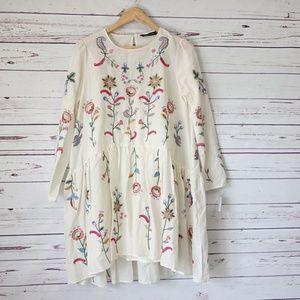 NWOT Zara Embroidered Short Dress Size S